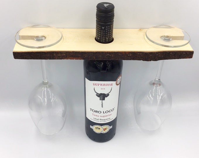 Wine glass holder - Solid birch wood wine accessory for serving wine - Holds 2 wine glasses - Great fireside wine accessory / couple gift