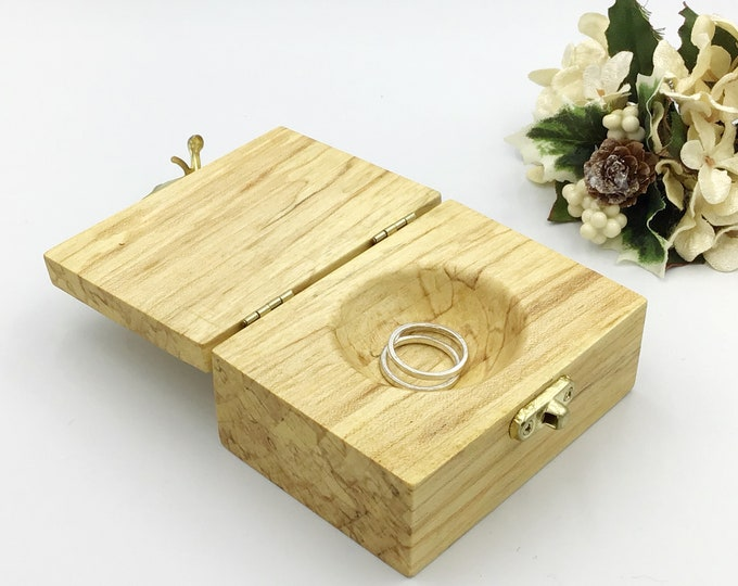 Ring box. Wedding ring bearers pillow or cushion alternative. Wooden jewellery box. Treasure chest. Luxury wooden ring box. Spalted ash wood