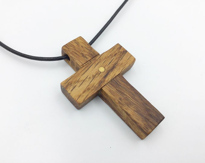 Oak crucifix - Dark Oak wood cross pendant necklace - Wooden pendant necklace - Handmade Christian Religious Wood cross - Unisex pendant