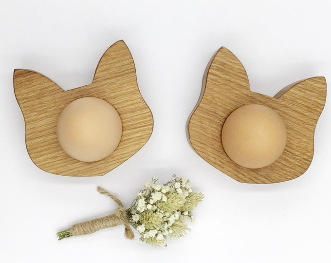 Oak Cat egg cup - Pair - Handmade natural Oak wood egg cups - Cat Face / Kitten design - Wooden egg cup pair with gift box - Easter egg gift