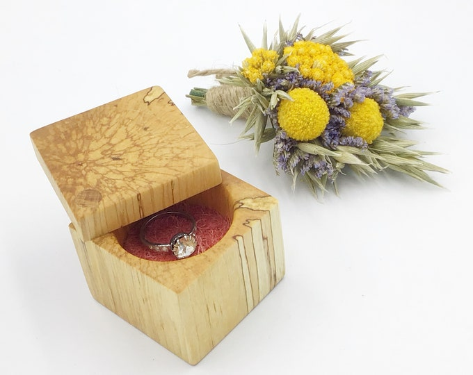 Ring box - Birch wood ring box - Stylish engagement ring box - Spalted Birch - Suede Inlay (choice of colours) - One off unique proposal box