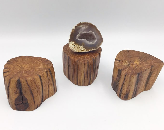 3 Oak wood jewellery risers. Set of 3 display base for small crystals, ornaments, succulents. Display plinth stand. Ancient organic Oak wood