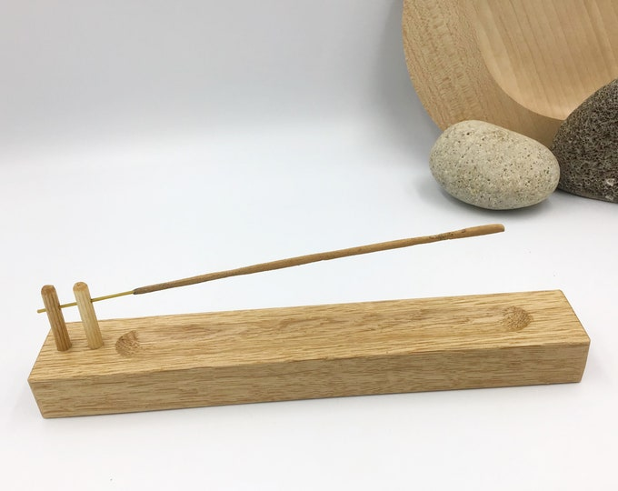 Incense stick holder. Solid Oak wood. Handmade joss stick incense holder. Hand-carved natural Oak wood. Wooden Modern Rustic decor gift