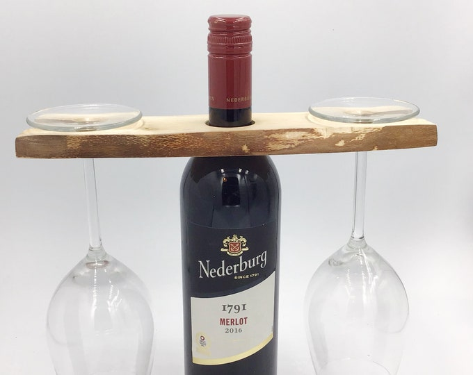 Wine glass holder - Solid birch wood - Wine accessory - Great for serving wine - Holds 2 wine glasses - Sustainable woodland eco gift idea