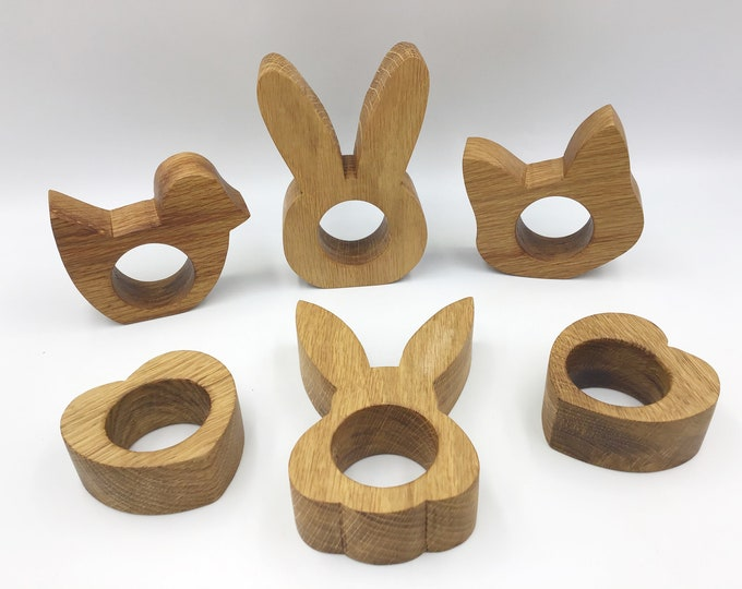 Solid Oak wood egg cups - Heart, Bunny Rabbit, Kitty Cat and Chick Eggcups - Sustainable Easter gift alternative to Easter Egg for children