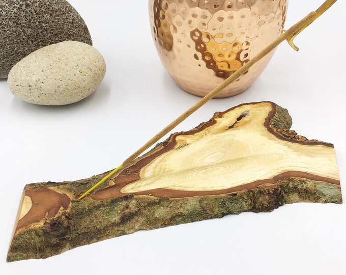 Joss stick incense holder. Hazel wood. A natural wood slice handmade incense holder with hand-carved ash collection channel. Woodland gift