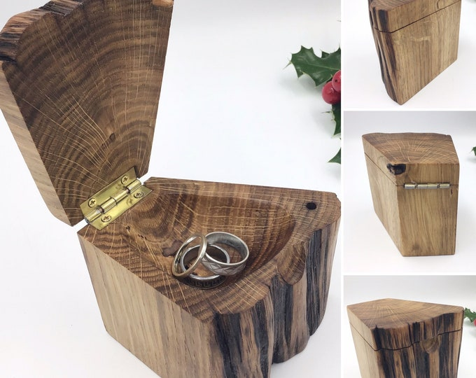 Wooden ring box. Hand carved jewellery dish. Ancient Oak wood. Treasure chest Ring Box. The perfect Valentine gift for that special someone