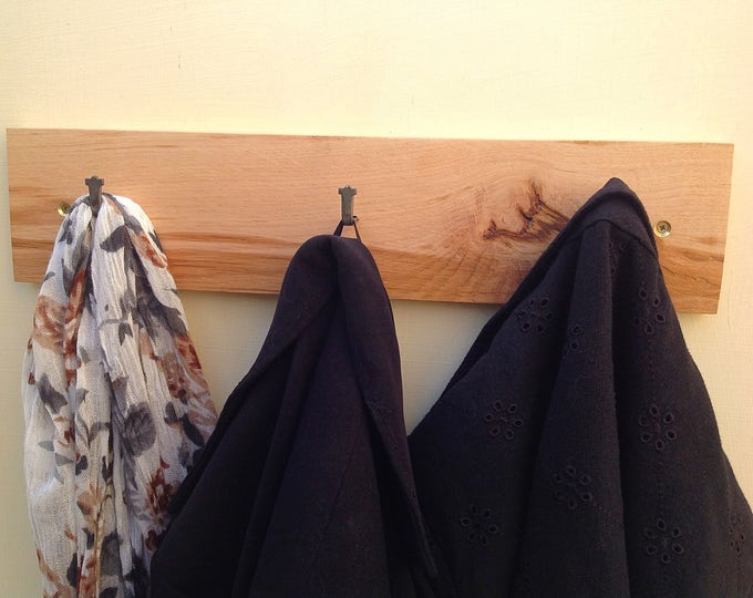 Coat rack. Solid Oak. Hooks on solid oak wall rack. Reclaimed oak slab. Natural wood coat stand. Wall mounted. Natural wood bark. Modern.