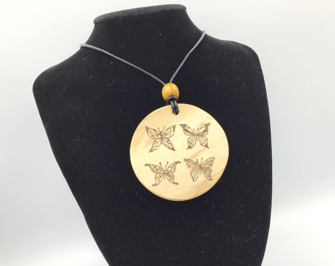Large Butterfly pendant - Hazel Wood Circle necklace - Handmade Pyrography / Wood Burnt - 4 butterflies unique design - birthday gift idea