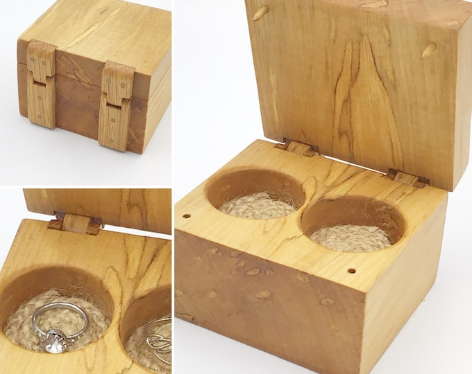 Jewellery box. Wooden Treasure Chest. Ring / Earring / Charm Gift box. Luxury. Spalted Birch wood. Handmade hinges & jute cord rope inlay