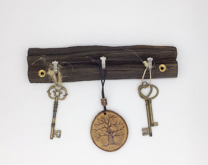 Key Rack - Oak wall key rack - 3 hooks - Solid Oak heartwood - Wall mounted - With hanging hooks / pegs - Woodland decor. Dark, near black