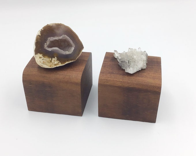 Pair of Mahogany wood crystal plinths. Jewellery riser. Rounded top plinth. Natural Wood base for crystals, ornaments, candles, succulents