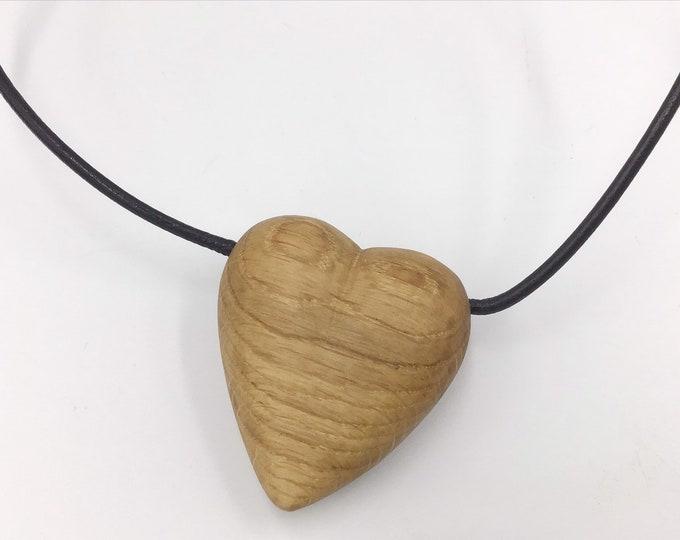 Carved oak heart necklace - Wooden heart pendant necklace - Handmade Oak pendant - Elegant stylish wooden necklace - Ancient primitive Oak