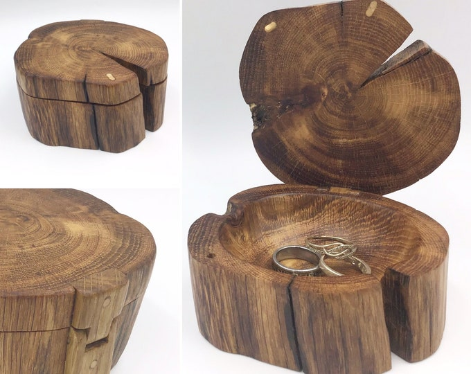 Jewellery box. Little 'Treasure Chest' ring box handmade from weathered 'bone' oak wood. Heirloom Gift box for her. Special jewelery holder