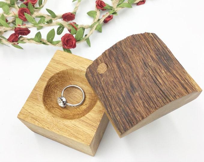 Ring Box - Large Engagement Ring Holder Box – Stylish timeless Oak wood Ring Box - Wooden Ring Box Hand carved - Proposal Presentation box