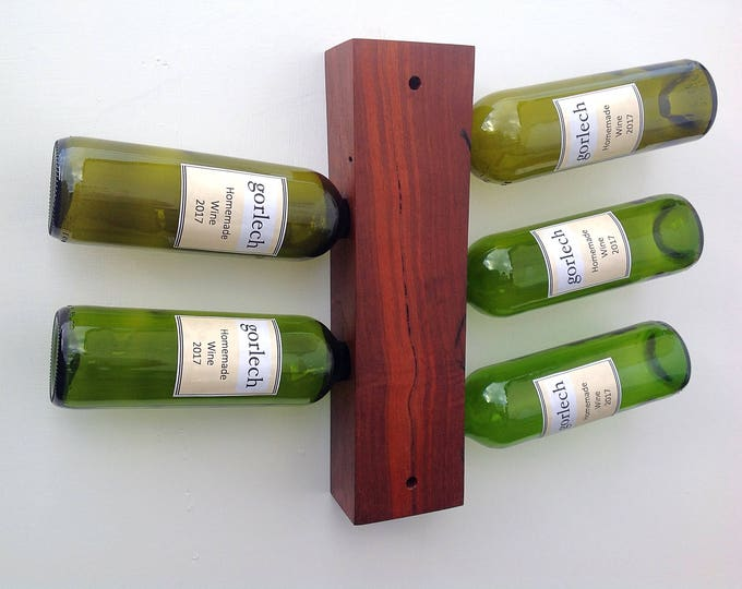 Wall mounted wine bottle rack. Purple Heart wood. Wall mounted holder. 5 wine bottles. Wine storage rack. Wedding gift idea for wine lover.