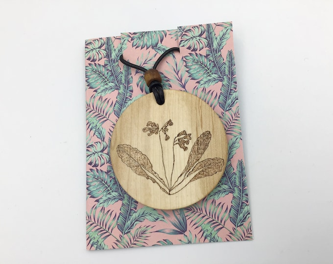 Circle Cowslip pendant - Large Wooden necklace - Handmade Pyrography / Wood Burnt burning - Hazel - Flowers floral Cowslips - flower gift