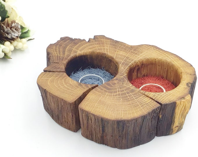Ring Bearer Box. His and Hers Wedding ring presentation. Woodland wedding. Wooden display dish for wedding rings. Red & blue suede. Vintage