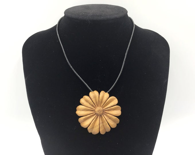 Cherry wood Flower pendant necklace. Wearable Art. Hand carved by Paul using only edge tools. Wooden pendant necklace. Unique heirloom gift
