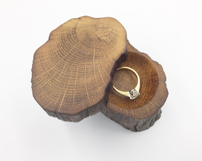 Ring Box - Engagement Ring Holder - Proposal - Ancient Oak Heart Wood - Rustic Woodland hand carved wooden ring dish - vintage style