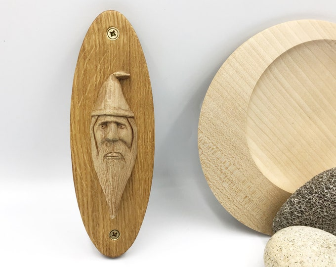 Wizard Wall Carving - Hand carved Sycamore wood Wizard on an oval Oak wall mounted plaque - One Of A Kind OOAK Wizard design - Original Art