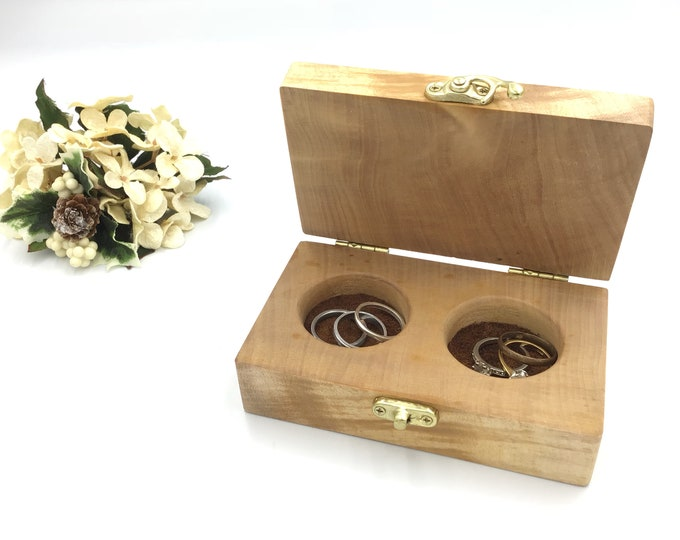 Ring box. Wedding ring box. His and hers wedding ring box. Treasure chest. Luxury wooden ring bearers box from reclaimed lime wood. Heirloom
