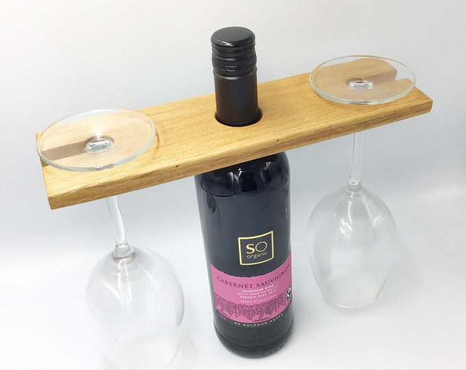 Oak Wine glass holder. For carrying wine glasses. Fireside wooden wine accessory. Good for serving wine. Great wine lover eco natural gift