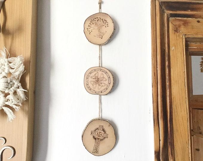 Celtic wall hanging - Handmade Pyrography Wood Burnt - 3 Irish Scottish Celts symbols - Tree of Life, Celtic Weave & Celtic Cross - wall art