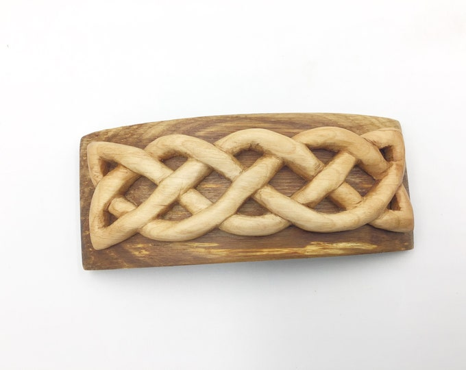 Celtic Knot Hair barrette. Hand carved. French barrette slide / clasp. Cherry & Oak  wood hair accessory. Natural wood. Strong hair clasp