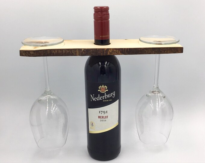 Wine glass holder - Holds 2 wine glasses - Solid rustic birch wood wine accessory -  Great fireside wine accessory / couple gift - branch