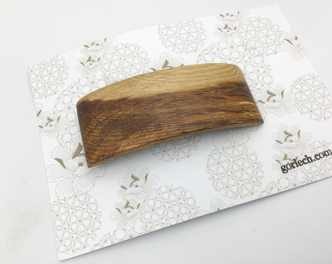 2 tone Oak Hair barrette. French barrette slide / clasp. Light and Dark Oak Woodland Hair accessory. Natural wood grain strong hair clasp
