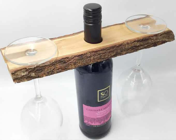 Wine glass caddy - Wine butler - Wine glass holder - Solid wooden wine accessory - Holds 2 wine glasses - Sustainable woodland eco  gift