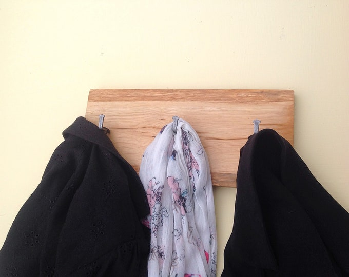 Coat rack - Wall mounted - Solid Oak - Live edge coat rack - Woodland / Forest home decor - Modern rustic coat pegs - Local sustainable wood