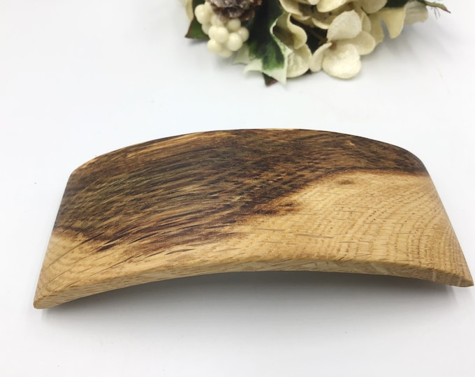 Oak Hair barrette. Striking wooden hair accessory. 2 tone light and dark Oak wood hair slide clasp. High Quality 'Made in France' metal clip