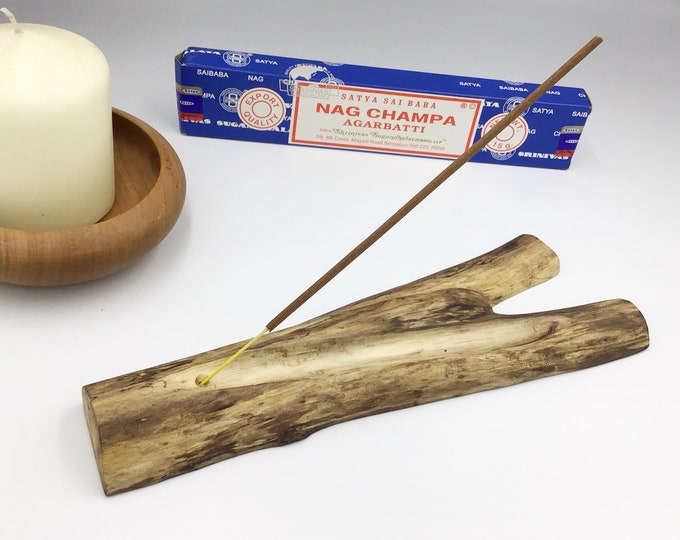 Joss stick incense holder. Driftwood. Wooden incense burner. Handmade driftwood incense holder. Handcarved ash channel. Sea beach drift wood