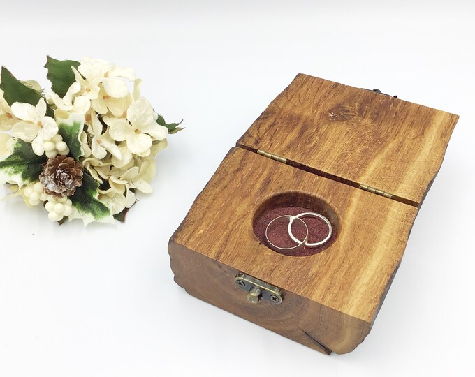Woodland Ring Box - Suitable for use as an Engagement Ring Holder or as a ring bearer box (pillow alternative) - antique oak wood, unique