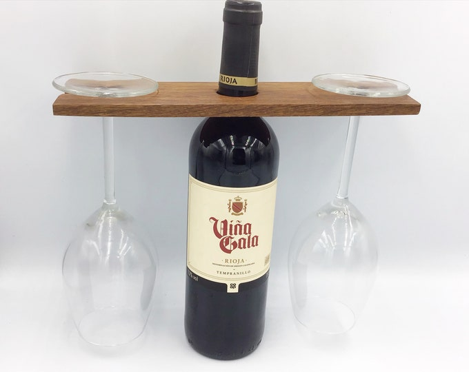 Wine butler / caddy - Reclaimed hardwood - Wine accessory for serving wine - For 2 wine glasses - Great gift for a wine drinking couple ;)