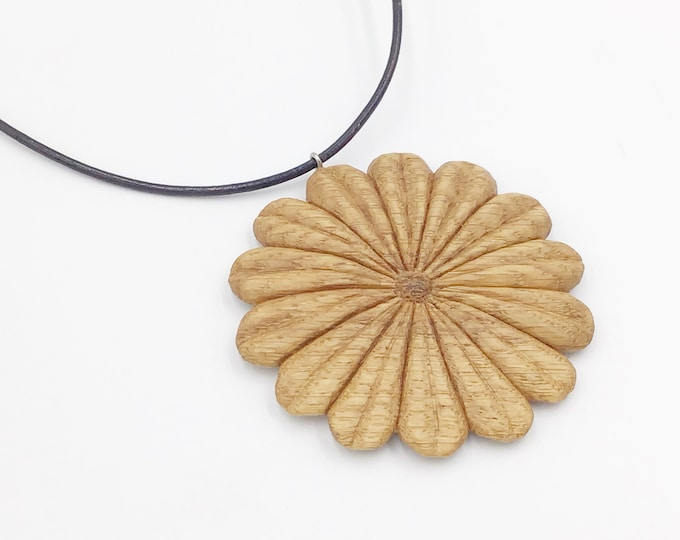 Flower necklace - Hand carved - Large wooden pendant necklace - Handmade Oak large floral - Hippy Boho Festival - Christmas gift for her