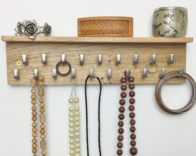 Oak Jewellery Display Rack - Natural Oak wood wall mounted rack with 19 hooks - With or without shelf - Light Oak - 33cm wide - necklace etc