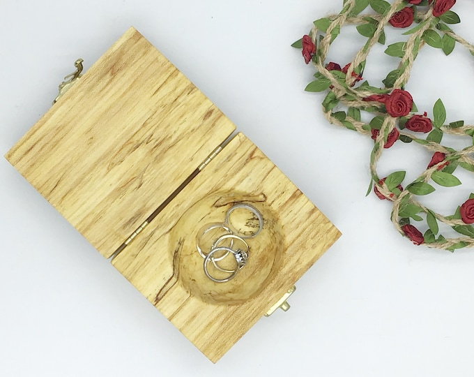 Ring box. Perfect for wedding rings because the lid fully opens. Luxury wooden ring box from spalted Ash wood. Gift box. Wedding ring pillow