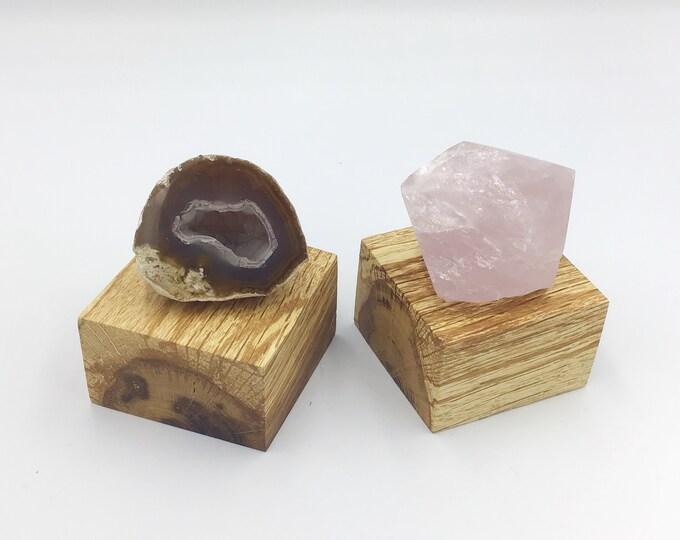 Pair of Oak wood crystal plinths. Jewellery riser. Wooden plinth. Oak wood display base for crystals, ornaments, candles, succulents etc
