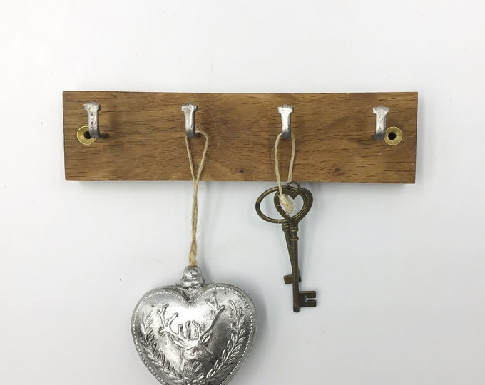 4 hook Dark Oak key rack - wall mounted - Simple, stylish Oak plank with hanging hooks - Solid natural wooden home decor. Sustainable