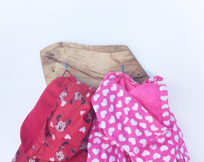 2 hook coat rack - Solid Oak coat pegs - Wall mounted - Live edge - Natural wood - coats, school bags - For a small space / dressing gowns