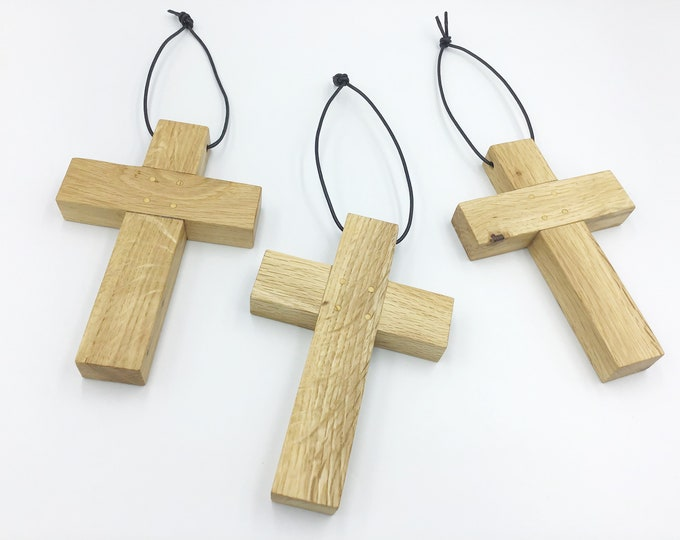 Oak wood cross - large 15cm wall hanging Oak cross - Simple, stylish Oak - Solid natural wooden wall crucifix - Sustainable Welsh wood