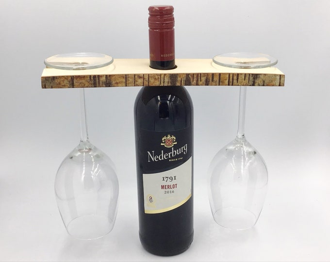 Wine glass holder for wine bottle - Solid birch wood wine accessory - Holds 2 wine glasses - Great sustainable gift for eco-conscious couple