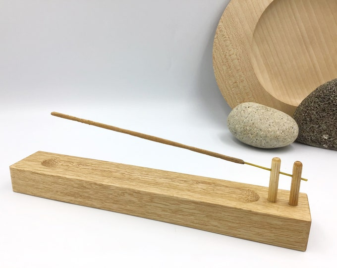 Incense stick holder. Solid Oak wood. Handmade wooden joss stick incense holder. Hand-carved Ash collection channel. Birthday incense gift