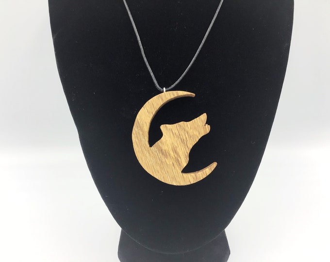 Wolf in Moon unisex pendant - Handmade Oak wood pendant - Howling wolf in crescent moon - Dog Canine - Magic spiritual wooden jewellery gift