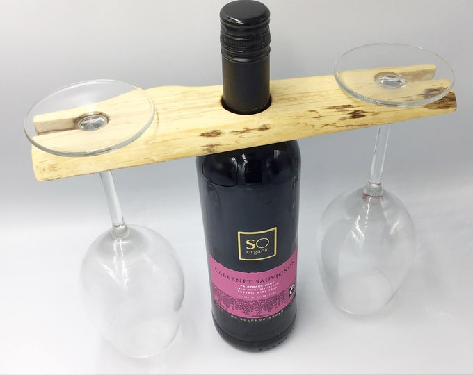 Wine glass holder. Solid oak wood. Fireside wine accessory. Great for serving wine. Holds 2 wine glasses. Christmas woodland eco gift idea