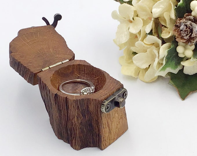Ring Box - Engagement Ring Holder – Special Proposal Ring Box for her - Live Edge Wooden Ring Box with antique brass style hinge and clasp