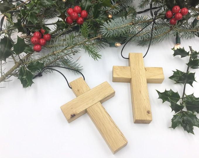 Oak wood cross - Large 15cm wall hanging Oak wood cross - Simple, stylish Oak - Wooden wall crucifix - Welsh wood - Christmas home decor